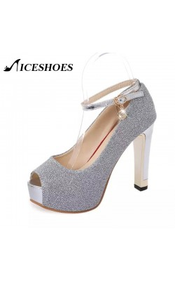 12 cm High heels Sandals Womaen open toe Pumps Platform Shoes Silver Sequined Cover heel Ankle strap  Sandalias peep toe pump