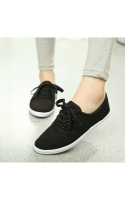16 Candy Color Canvas Shoes Woman Casual Shoes Brand Women Flat Sneakers White Shoes Solid Breathable shoes Plus size 35-42