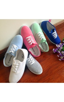 18 Color Womens Canvas shoes white sport sneakers for ladies casual shoes breathable Shoes lace up zapatos mujer Plus Size 9