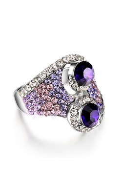 18K White Gold GP Purple Crystal Amethyst RingS Womens Ladys Ring Jewelry Gift R491