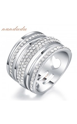 18k White Gold Plated Crystal Ring New Arrival Fashion Rings Women Girl Jewelry Gift R1160