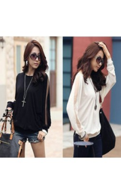 2013 new women bat shirt loose round neck long-sleeved T-shirt Fat MM bat sleeve T-shirt 2color 3size L-XXL 6023