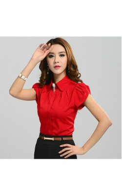 2014 New Fashion Summer women clothing casual tops blouses Ladies short sleeve shirt Slim work wear Plus size S-XXL 3color  2590