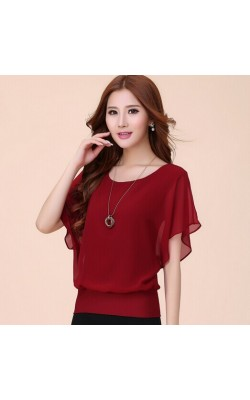 2014 New Fashion Women's Summer Short-sleeve Top Ladies Chiffon Blouses Shirts Female Elegant Batwing Plus size XXXXLblusas 6306