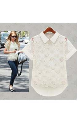 2014 New Fashion Women Chiffon Blouses Short Sleeve Lapels ladies Tops Summer Casual Shirt White Lace Women Clothing 8067