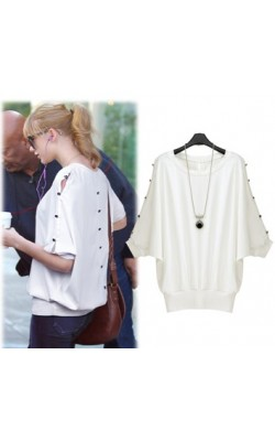 2014 New Fashion  spring batwing sleeve button decoration cutout slim waist shirt  female 1631