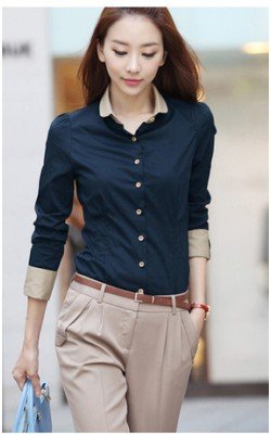 2014 New spring women's long-sleeved blouses OL shirt women tops Collision color shirt 312