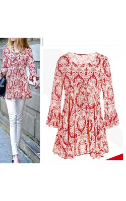2014 new Fashion long-sleeve casual all-match o-neck print shirt shirt  plus size blouse tops 969