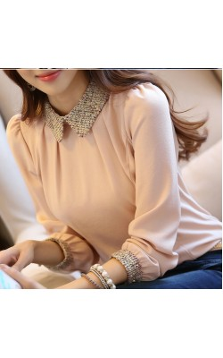 2014 new fashion Korean lady long sleeve lace chiffon shirt peter pan collar lantern sleeve women blouse  size s-2xl 8009