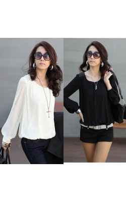 2014 new fashion women sexy Chiffon blouses Puff long sleeve Lace shirts loose O-neck casual tops plus size 837-6068