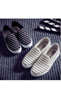 2015 Fashion Sneakers Womens Striped Canvas Flats Casual Shoes Women lazy shoes Brand Sneaker Flat platforms pantshoes loafers