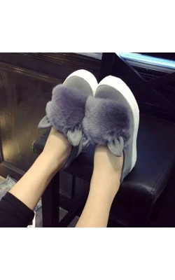 2015 autumn winter Women's flats faux fox fur Ears cute shoes woman casual flat on platfoms lazy shoes slip on low Shoes ladies