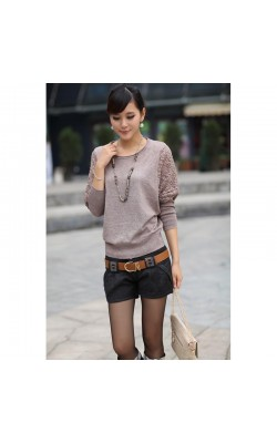 2016 Autumn Sweater Women Elegant Batwing Lace Hollow Sleeve Sweater and Crew Neck Loose Casual
