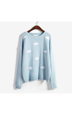 2016 Autumn new women pullover sweater korean loose sweater harajuku kawaii cute 3D clouds pullover oversized sweater pullover