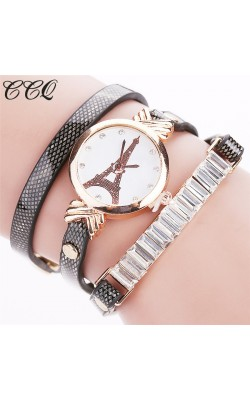 2016 CCQ Brand Fashion Popular Watch Women Tower Crystal Gold Casual Quartz Wristwatches Luxury Leather Ladies Women New Watches