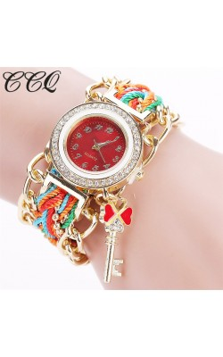 2016 CCQ Brand Women Gold Weave Hand Fashion Ribbon Watches Luxury Crystal Key White Analog Quartz Watch For Ladies C64