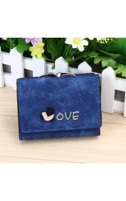 2016 New Fashion Women Heart Wallets Nubuck Leather Wallet Women's Short Design Purse Retro Clutch Card Holder Purse 1STL