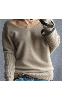 2016 autumn winter 100 cashmere sweater women fashion sexy v-neck sweater loose long sleeve solid 100% wool sweater