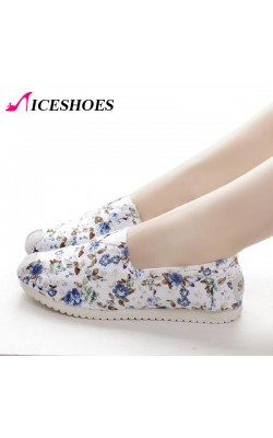 2 Color Women's Cotton Flowers print slip on shoes canvas flat Casual shoes 2015 new Spring Autumn Female basic ladies low shoes