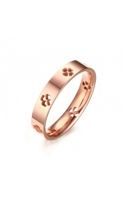4MM Women's Hollow Lucky Clover Ring in Rose Gold Plated Titanium Wedding Band Bague Jewelry Size Selectable 6-8