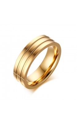 6mm Woman Men Gold Plate Stainless Steel Rings Polished Double Groove Wedding Bands Jewelry