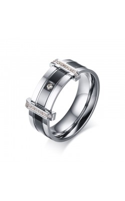8MM Men's CZ Wedding Ring Band Silver Black Stainless Steel Engagement Bague Hommes Elegant Jewelry US Size 6-13