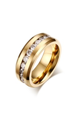 8 MM Men's Titanium Ring Black Gold Round CZ Stone Channel Wedding Anniversary  Band Ring 7 to 12