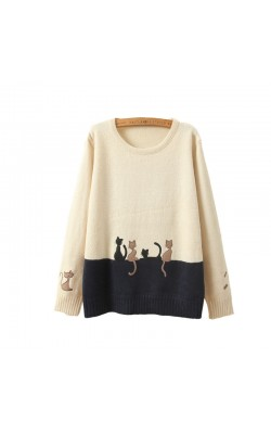 Autumn Winter New Women Sweater Pullover Long Sleeve cat embroidery splice sweater loose Sweater underwear Casual Pullovers