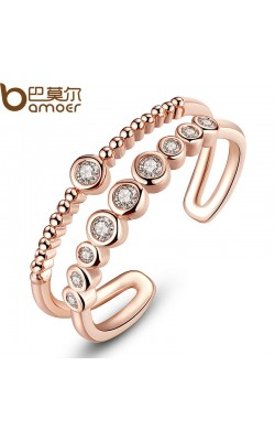 BAMOER Fashion Rose Gold Finger Ring with AAA Zircon Wedding & Party High Quality Elegant Jewelry JIR064