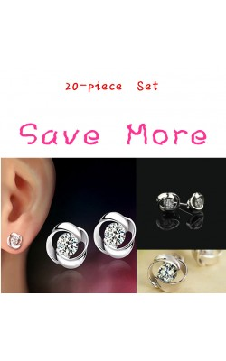 Best seller Diomedes Factory Price 20-Pair Set Womens Beautiful Fashion Silvering Crystal Shiny Ear Stud Earrings May5 C