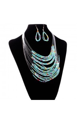 Best seller Diomedes Free Shipping   Multicolor Multi-layer Resin Beads Necklaces and Earrings Jewelry Set Apr7