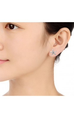 Best seller  Lovely Cute Sweet Full Faux Crystal Rhinestone Starfish wedding Earrings for women Girl