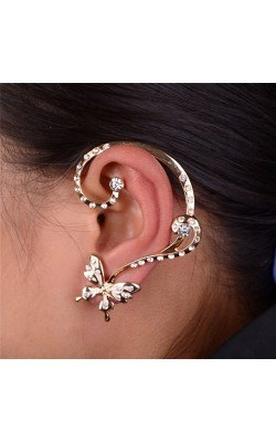 Best seller  Women Fashion Crystal Butterfly Cuff Ear Clip Wrap Earring  wedding Earrings for women Girl jewelry ww