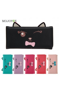 Cat Ears PU Women Leather Wallet Cartoon Cat Print ID Credit Card Holder Coin Purses Long Brand Designer Bifold Purse Bolsa