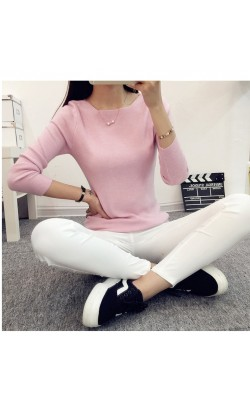 HOT!2016 Fashion Cashmere Sweater Pullovers Women  Neck Solid Color Long sleeve Knitted Sweater