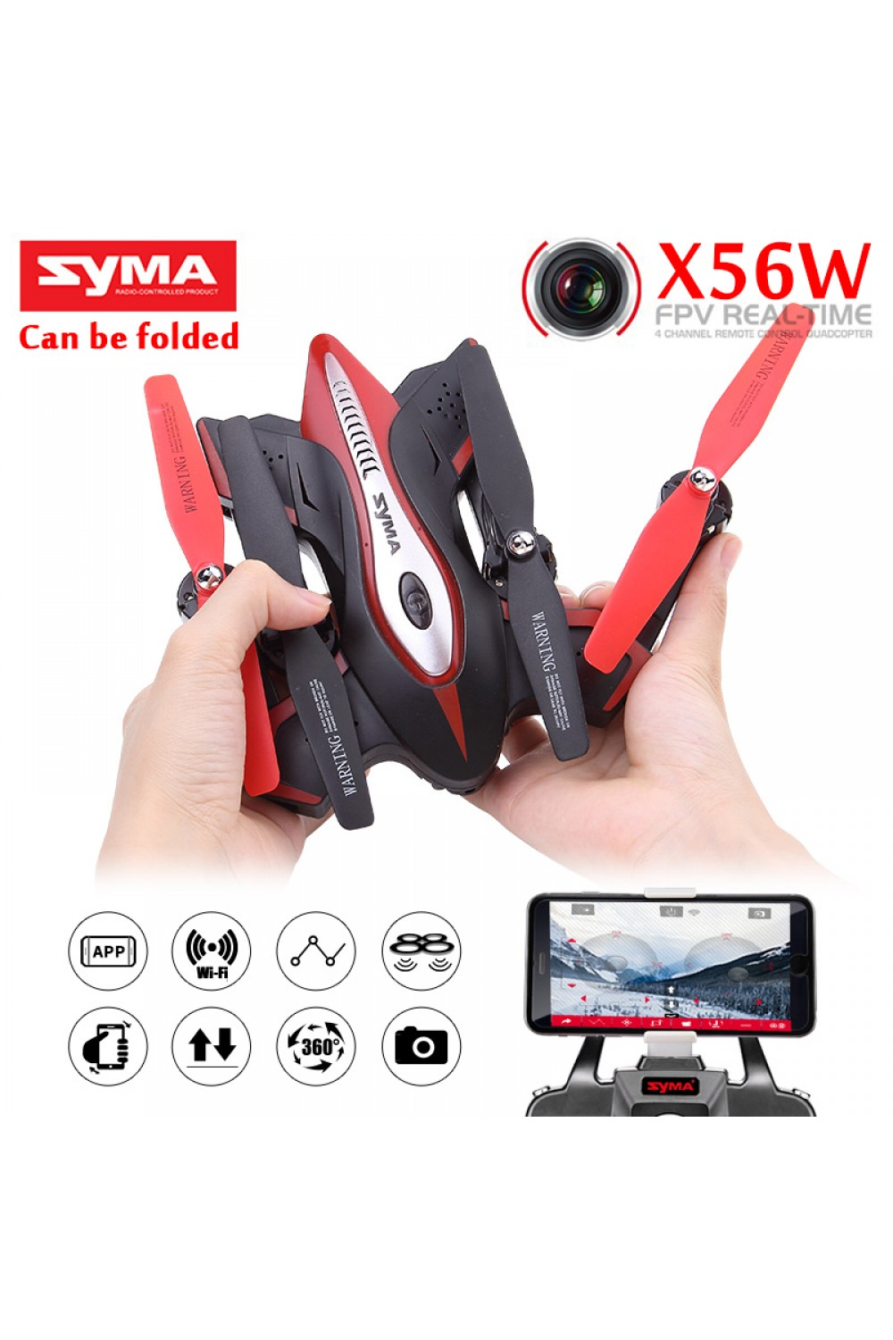 Newest SYMA X56W Fold FPV RC Quadcopter 2.4G 4CH 6-Axis RC Drone with WiFi Camera Headless Mode One Key Land pocket Drone VS X5C