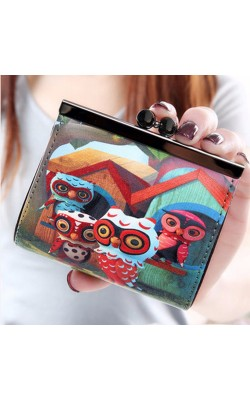Women Graffiti PU Leather Wallets Coin Purses Hasp Short Wallet Fashion Girls Money Bag Portefeuille Femme Carteira Feminina